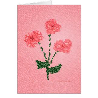 Tarjeta Tres flores rosadas