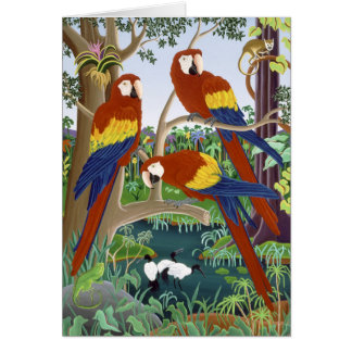 Tarjeta Tres Macaws rojos