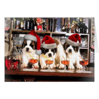Tarjeta Tres navidad St Bernard en la barra