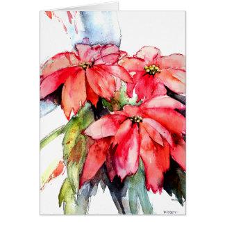 Tarjeta Tres Poinsettias en acuarela