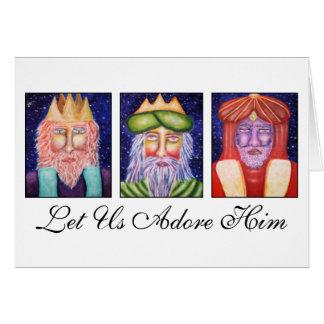 """Tarjeta Tres reyes Art """"dejaron uso lo adoran"""" navidad"""