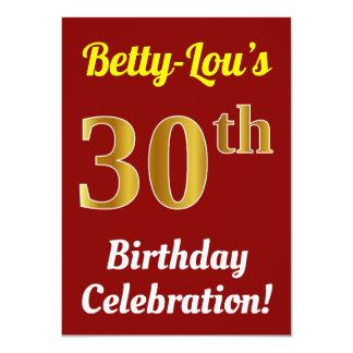Tarjeta Trigésima celebración del cumpleaños del oro rojo,