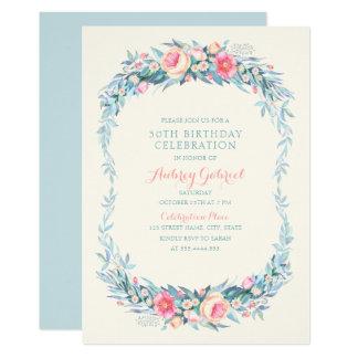 Tarjeta Trigésima fiesta de cumpleaños floral adulta
