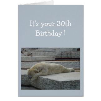 Tarjeta Trigésimo animal del oso polar del humor de la
