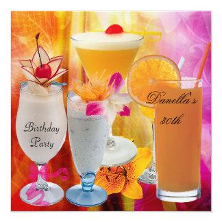 Tarjeta trigésimo Cócteles tropicales 2 de las bebidas de