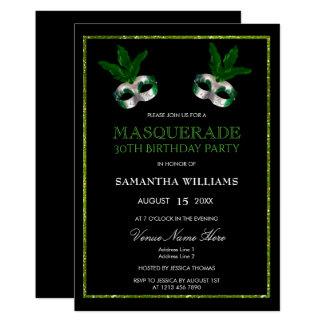 Tarjeta Trigésimo cumpleaños del verde de la mascarada