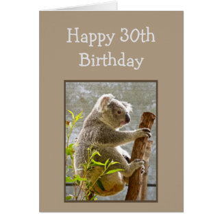 "Tarjeta Trigésimo cumpleaños feliz Koalified ""sobre"