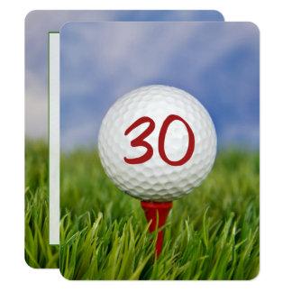 Tarjeta trigésimo Tema del golf de la fiesta de cumpleaños