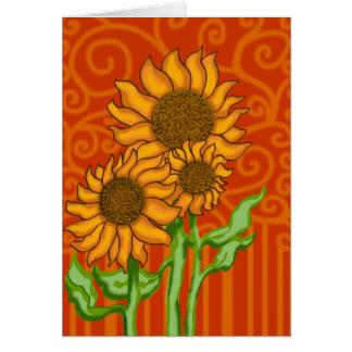 Tarjeta Trío del girasol/tarjeta de nota con el sobre