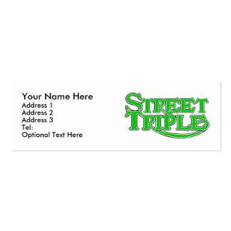 Tarjeta triple del perfil de la calle tarjetas de visita mini