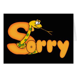 Tarjeta triste de la serpiente con palabra triste