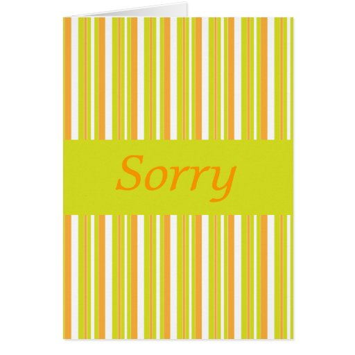 Tarjeta triste en rayas verdes y anaranjadas
