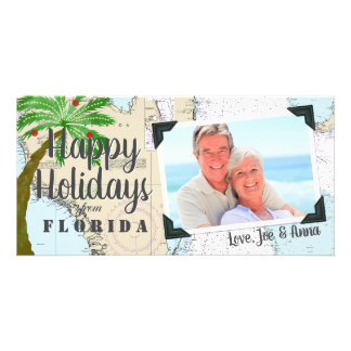 Tarjeta Tropical buenas fiestas de la Florida náutica