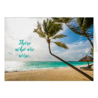 Tarjeta tropical de la escritura de la playa del