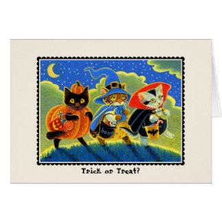 Tarjeta ¿Truco o invitación? Gato Notecard de Halloween