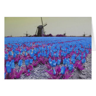 Tarjeta Tulipanes azules del arte pop