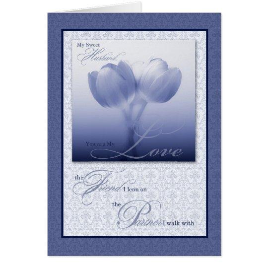 Tarjeta Tulipanes azules sentimentales del cumpleaños del