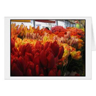 Tarjeta Tulipanes en el mercado público del lugar de Pike,