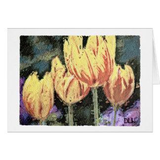 Tarjeta Tulipanes rojos y amarillos florales/mirada de la
