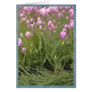 Tarjeta Tulipanes rosados artsy