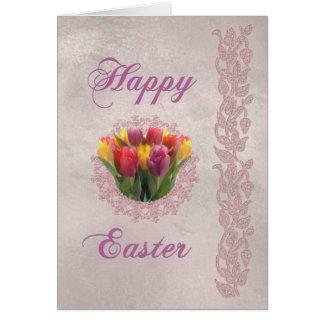 Tarjeta Tulipanes y cordón felices de Pascua