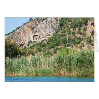 Tarjeta Tumbas de la roca de Lycian, Dalyan, Turquía