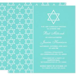 Tarjeta Turquesa y estrella judía blanca del palo Mitzvah