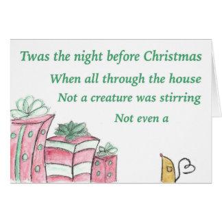 Tarjeta twas la noche antes del navidad