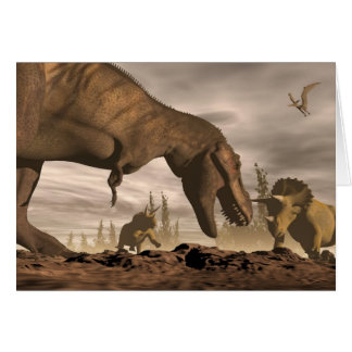 Tarjeta Tyrannosaurus que ruge en el triceratops - 3D