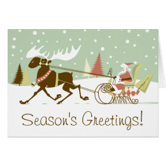 Tarjeta Un alce abre el navidad retro de Papá Noel del