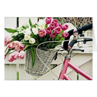 "TARJETA UN AMOR DE BICYCLE-FLOWERS-AND EN ""PASCUA """