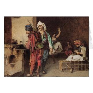 """Tarjeta """"Un café en El Cairo"""" por Jean León Gerome"""