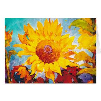 Tarjeta Un girasol amarillo artsy