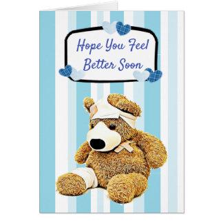 Tarjeta Un mejor azul del oso de peluche de la sensación