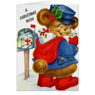 Tarjeta Un oso del cartero del día de fiesta de Santa del