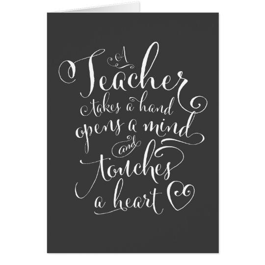 Tarjeta Un profesor toma una mano abre una mente