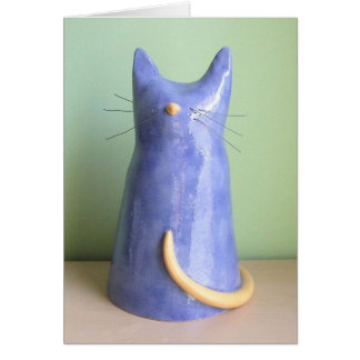 Tarjeta Una estatuilla artsy del gato azul
