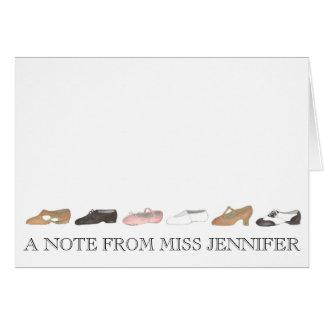 Tarjeta Una nota del regalo personalizado del profesor del