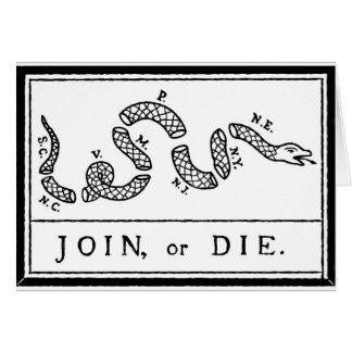 Tarjeta Únase a o muera - revolución americana - B