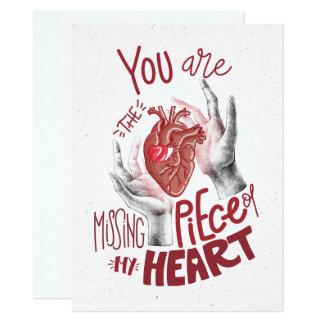 Tarjeta Usted es el pedazo que falta de mi corazón