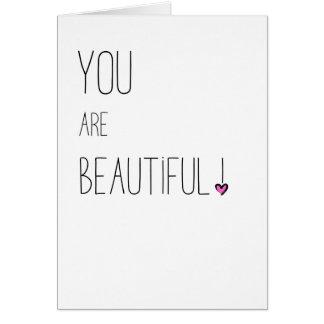 Tarjeta Usted es - LGBT - corazón rosado hermoso