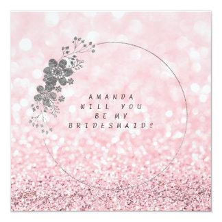 Tarjeta Usted será mi brillo rosado del rosa de Silve de