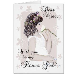 Tarjeta ¿Usted será mi Chica-Sobrina de la flor? - Arte de