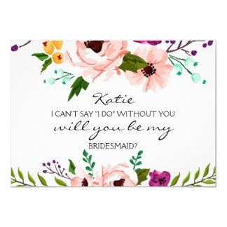Tarjeta Usted será mi dama de honor floral