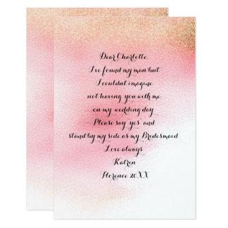 Tarjeta ¿Usted será mi dama de honor? Polvo color de rosa
