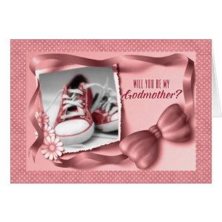 Tarjeta Usted será mi madrina - rosa de la niña