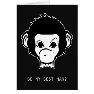 Tarjeta ¿usted será mi mejor hombre? mono del señor