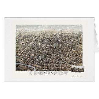 Tarjeta Utica, mapa panorámico de NY - 1873