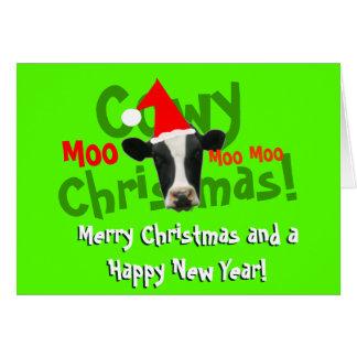 Tarjeta Vaca divertida de Santa del navidad de Cowy