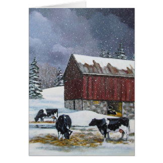 Tarjeta Vacas de Holstein en el corral Nevado: Pintura